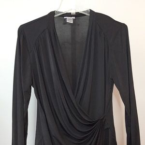 Cache Large Faux Wrap Top